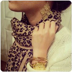 stella & dot, leopard scarf, white sweater, gold earrings, gold watch, gold bracelets