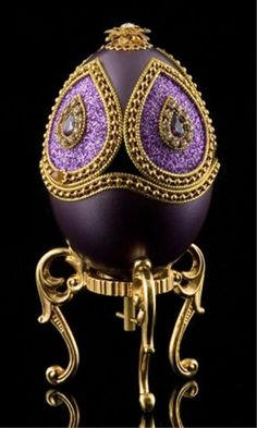 Faberge Inspired Violet Egg : Musical, Art - Faberge Eggs, Boxes, Jewelry, Ornaments & More
