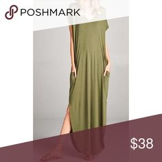 NEW ARRIVAL-Oversized T-shirt Maxi Dress Oversized V-neck t-shirt dress. Loose fitting with slight peek a boo shoulders, side pockets and open side slits. *Please note this dress is oversized and may be very large on some  95% RAYON 5% SPANDEX Runs Large Gentle Wash Made in the USA Dresses Maxi