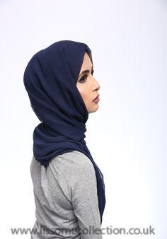 Georgette Navy Hijab