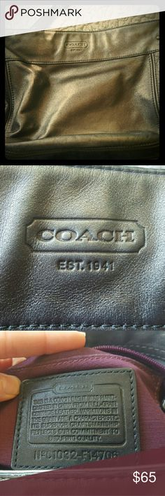 Coach Gunmetal shoulder or crossbody bag Coach Gunmetal Silver purse. Used well but in great condition. Strap is thin at the top due to wear but barely noticeable. Coach Bags Crossbody Bags