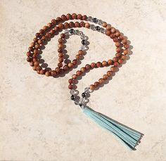 Suede and Sandalwood 108 Bead Meditation Mala by InnerFireJewelry