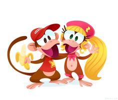 Super Nintendo World: Meet and greet with Diddy Kong and Dixie Kong (Donkey Kong area) Super Nintendo, Super Smash Bros, Super Mario Bros, King Koopa, Video Game Magazines, Diddy Kong, Nintendo World, Donkey Kong Country, Mario And Luigi
