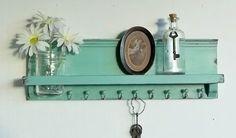 Turquoise  Wood Jewelry Shelf...Key by cottagehomedecor on Etsy, $37.00