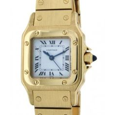 SANTOS LADY 26MM IN 18KT YELLOW GOLD Square Watch, Cartier, Watches, Yellow, Lady, Gold, Accessories, Saints, Clocks