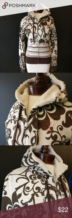 Roxy PacSun Soft, Warm, Faux Fur Lined Hoodie Roxy PacSun Soft, Warm, Faux Fur Lined Hoodie  Lovely cream and brown, with orange accents.  Size S Worn once, super soft and cozy! Roxy Tops Sweatshirts & Hoodies