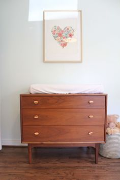 Mid Century Dresser Turned Changing Table With Rifle Paper Print. Simple  And Sweet.