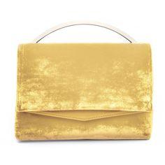 Eddie Borgo Yellow Orange 'Boyd Vanity' Clutch ($990) ❤ liked on Polyvore featuring bags, handbags, clutches, yellow orange, velvet handbags, beige purse, velvet clutches, velvet purse and eddie borgo