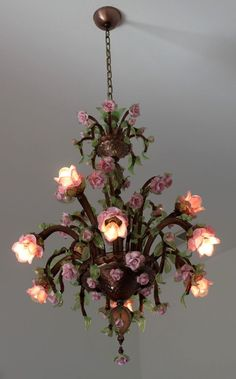 Important Large PAULY & CO Venezia Roses 9 Light Murano Glass Chandelier Dallas