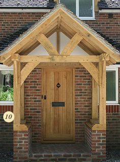Take a look at our gallery of various styles of oak porches Front Door Porch, Front Porch Design, Porch Roof, Oak Front Door, Porch Canopy, Door Canopy, House With Porch, House Front, Sas Entree