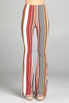 Red Hot Multi Stripe Bell Bottom Pants Bell Bottom Pants, Bell Bottoms, Festival Outfits, Festival Clothing, Cotton Kimono, Printed Pants, Hot Pants, Selling Online, Boho Fashion