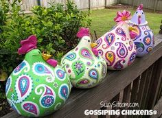 chickens gourd art paisley painted gourds by SuzysSitcomStore Chicken Crafts, Chicken Art, Gourds Birdhouse, Hand Painted Gourds, Arts And Crafts, Diy Crafts, Paperclay, Gourd Art, Craft Kits
