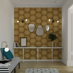 Inspiration Art, Divider, Room, Furniture, Home Decor, White Wicker, Wall Papers, Hexagons, Art Deco