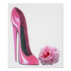 Pink Stiletto Shoe Art and Rose Poster