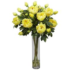NearlyNatural Peony with Cylinder Silk Flower Arrangement in Yellow