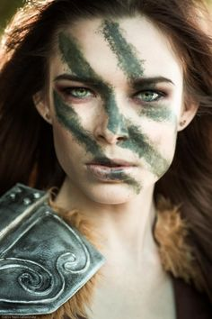 Evangeline in battle ~ This is perfect. An interesting idea for a Christian warrior ... I hadn't thought about war paint, hmmm...