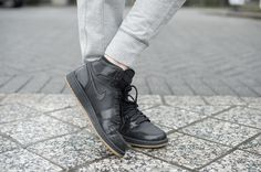 Retro Black and Gum Air Jordan Ones | All black high tops, gum sole | MarahCAR