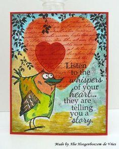 3 cards with the Tim Holtz Crazy Birds and a short blogbreak... | Alie Hoogenboezem-de Vries | Bloglovin'