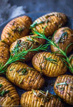 Rosemary Garlic Mini Hasselback Potatoes Vegan Christmas Dinner Side Dish