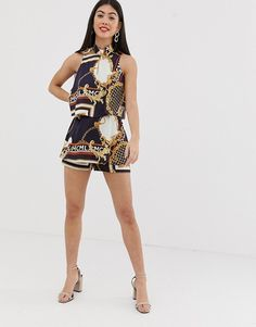b5ead60cb7 River Island Petite playsuit with high neck in scarf print