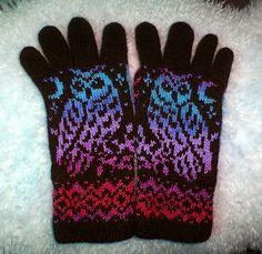 Ravelry: Night Owl Gloves pattern by Natalia Moreva Mittens Pattern, Knit Mittens, Knitted Gloves, Double Knitting Patterns, Crochet Patterns For Beginners, Owl Patterns, Fair Isle Knitting, Knit Crochet, Night Owl