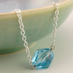 Aquamarine Swarovski crystal necklace on sterling silver chain $29.95