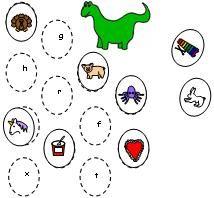 Printable dinosaur beginning sound matching file folder game from Making Learning Fun.