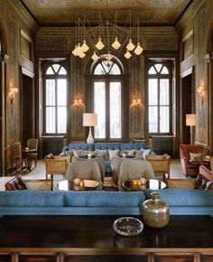 The Design of Soho House - colors and the mix of traditional and contemporary such a  neat fixture