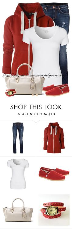 """""""AX Paris Red Hoody & Red Toms!"""" by stay-at-home-mom ❤ liked on Polyvore featuring True Religion, AX Paris, Majestic, TOMS, Diane Von Furstenberg and Principles by Ben de Lisi"""