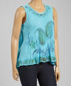 Another great find on #zulily! Bright Blue Floral Hi-Low Sleeveless Top - Plus #zulilyfinds