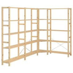 IKEA IVAR 4 sections/corner You can move shelves and adapt spacing to suit your needs. Ikea Algot, Ikea Hejne, Metal Shelving Units, Wire Shelving, Wooden Shelves, Garage Shelving, Solid Pine, Solid Wood, Ivar Regal