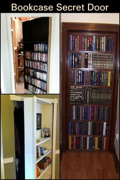 Turn a bookcase into a secret door - New Ideas Secret Door Bookshelf, Bookcase Door, Extra Storage Space, Storage Spaces, Secret Space, The Secret, Secret Rooms In Houses, Secret Passage, Spare Room