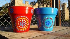 Nº 8 - Tiny flowerpots. Hand painted. Macetas pintadas a mano. Facebook: A'cha Pots. achapots@hotmail.com