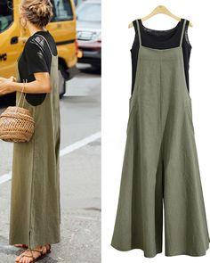 ca038cae6b Women Casual Pure Color Loose Linen Tank Jumpsuit. Floral Plus Size  DressesPlus ...