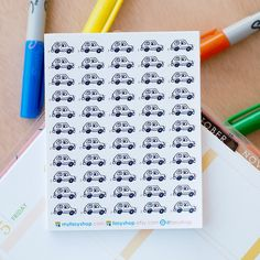 55 Cars Mini Icons -  Black & White Hand Drawn Sticker Planner by FasyShop on Etsy