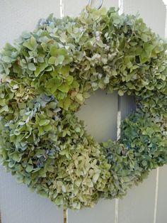 Hydrangea Wreath  Summer Hydrangea Wreath   Garden Party Wreath  Natural Wreath   Dried Hydrangea Wreath  Shabby Chic  Hydrangeas by donnahubbard on Etsy