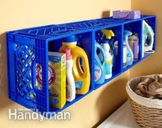 Mount plastic crates on the wall....handy small home creative space ideas for laundry room and kitchen etc (or toys)