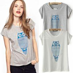 Women's Short Sleeves T-shirt Batwing-sleeve Top Tees Owl Printed