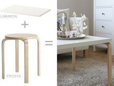 IKEA HACK: how to a Frosta stool into a coffee table Ikea Inspiration, Ikea Furniture, Furniture Makeover, Luxury Furniture, Furniture Cleaning, Ikea Chair, Furniture Removal, Furniture Movers, Bedroom Furniture