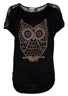 Lace Back Embellish Owl Top / Black - Womens Clothing Sale, Womens Fashion, Cheap Clothes Online | Miss Rebel