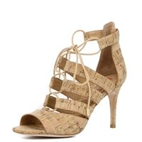 Elyse Cork Heel - Cage-like straps add modern edge to a stacked edge to a stracked stiletto heel. Lace-up details make this neutral cork sandal a trendy must have for spring.