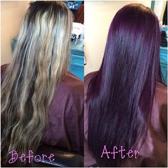 Dark brown with violet hue, STUNNING!!!!! Done by Sarah Coulson at Leilani Salon and Spa Logan Utah! :)