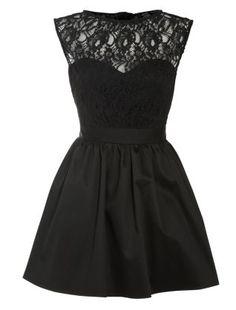 Black (Black) Elise Ryan Black Taffeta Lace Top Dress | 262069501 | New Look