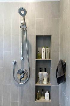 Looking for bathroom storage ideas for tiny space? Check out these clever small bathroom storage ideas that you will say WOW. Budget Bathroom, Bathroom Renovations, Bathroom Ideas, Bathroom Vanities, Shower Bathroom, Shower Niche, Gold Bathroom, Bathroom Layout, Kids Beach Bathroom