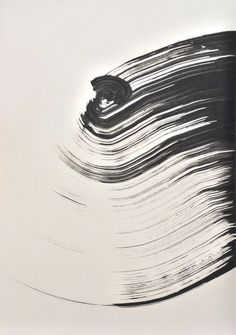 Original Fine Art Abstract Ink Drawing Strong wind / by ComArt
