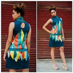 """Vintage inspired mod dress by Eco-friendly Spanish-Basque designer Skunkfunk. High neck, drop waist, and bold pattern. This dress is so dope!  Size M Bust 38"""" $30 shipping included in price  Leave email for invoice SOLD!!"""