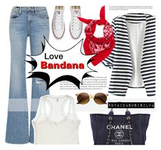 """""""Love bandana!"""" by aidasusisilva ❤ liked on Polyvore featuring WithChic, Converse, Frame Denim, Chanel, Clo Intimo and Bandana"""