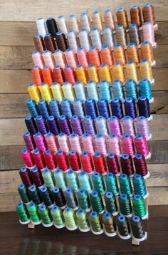 Machine Embroidery Thread Set: 120 Polyester Colors On 1100yd Mini-King Cones Commercial Embroidery Machine, Machine Embroidery Thread, Embroidery Machines, Thread Storage, Thread Holder, Sewing Room Organization, Starter Set, Popular Colors, Sewing Rooms