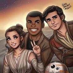 Star Wars: Rey, Finn, Poe and BB-8 by daekazu.deviantart.com on @DeviantArt