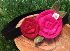 Hot Pink and Red Felt Flowers: Newborn Elastic Headband
